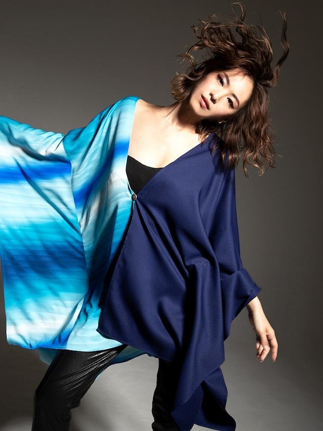 着物ポンチョ(Kimono poncho)丹後ブルー