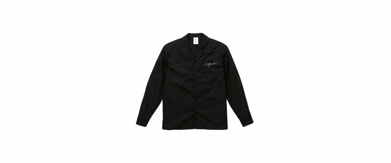 coguchi open collar shirt (BK/WH)