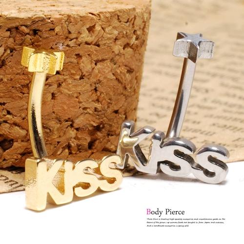 ボディピアス 14G KISS スター 星 カーブバーベル バナナバーベル ボディーピアス 軟骨ピアス TBP016