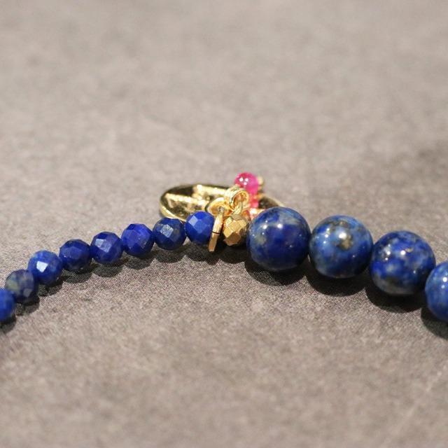 【COSMIC BLUE】ラピスラズリ×天然シトリン ハーフブレスレット【シルバー】