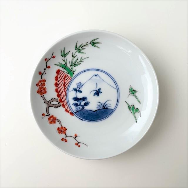 【おてしょ皿】染錦梅に鶯富士山図 丸小皿