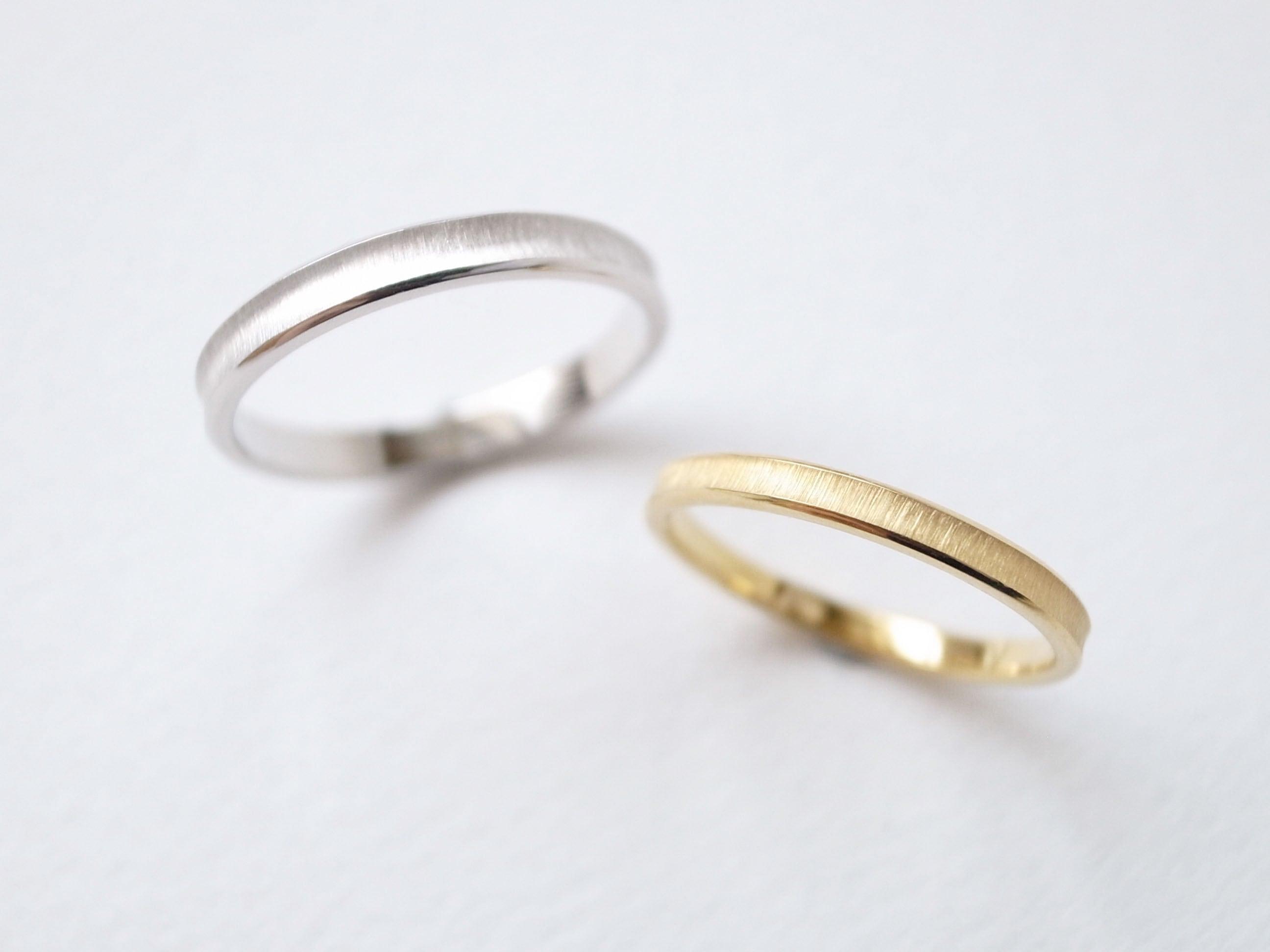 【pairing・stamp】K18YG・silver950/gloss ring