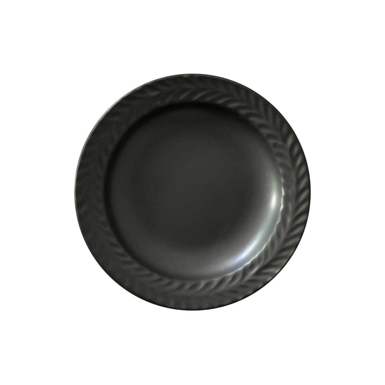 波佐見焼 翔芳窯 ローズマリー リムプレート 皿 約10cm マットブラック 33385