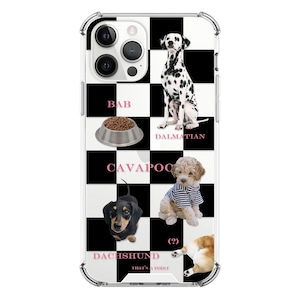 【that's a point】check dogs, black pattern / iphone スマホ ケース カバー  ジェリー ソフト ハード  韓国 雑貨