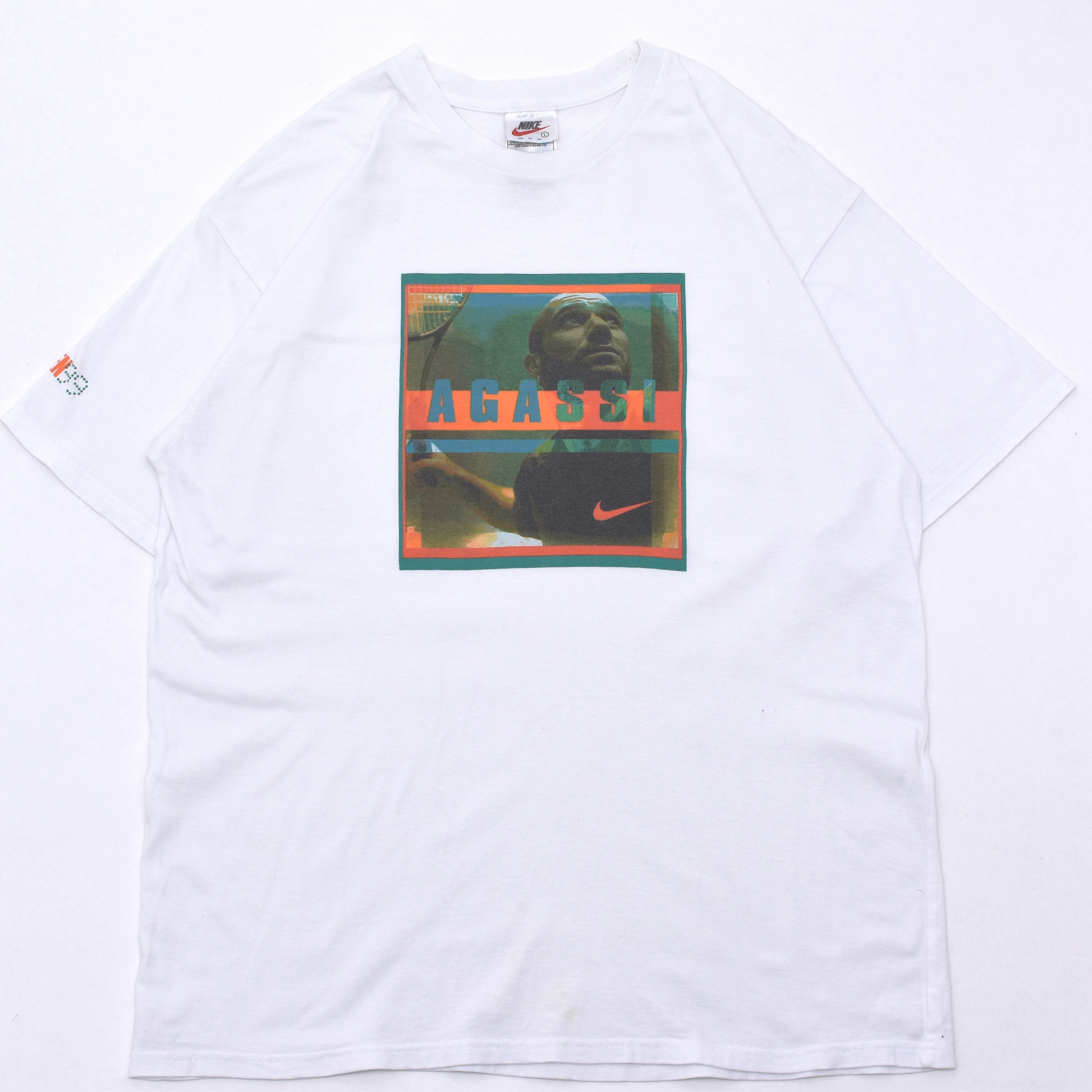 "90s NIKE ""AGASSI"" Photo print T shirt"