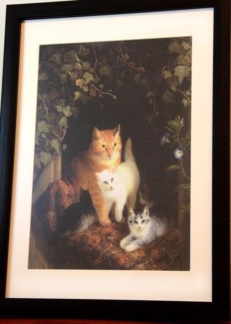 アートプリント布地★ロナーニップ★猫の親子