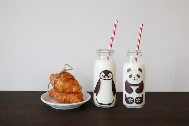 『cg-0102s』『冷感ミルクボトル牛乳スマイルグラス』『ペンペン&パンダ君』*子供 笑顔 牛乳 着せ替え ボトル ペンギン パンダ 動物