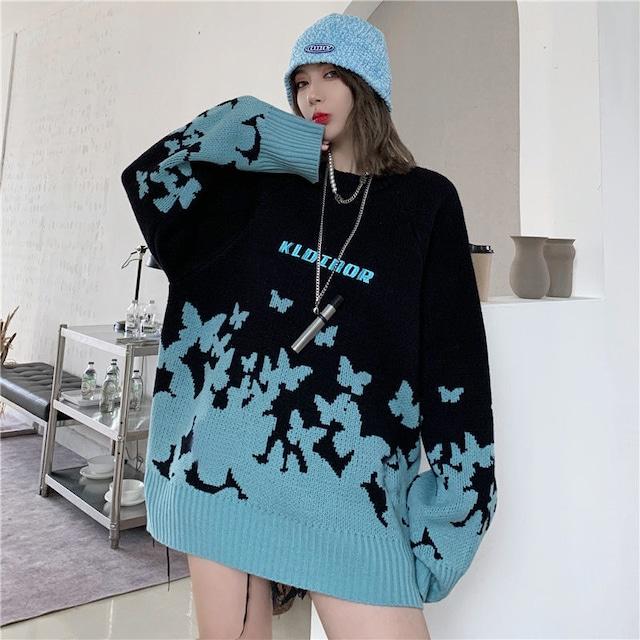 【トップス】ストリートファッションルーズ蝶図柄大人気セーター53682124