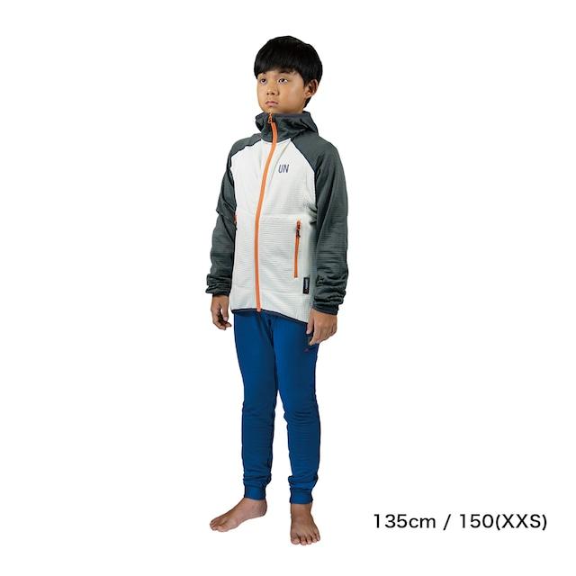 Kids 130 / UN2100 Light weight fleece hoody / Charcoal : Cream