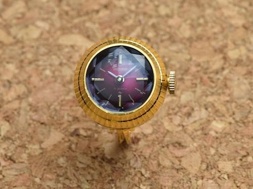 【ビンテージ時計】1974年3月製造 セイコー指輪時計 日本製 エキゾチックなグラデーション 【デッドストック品】