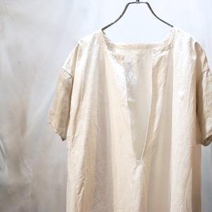 【VINTAGE】フレンチリネン ワンピース ロングシャツ 半袖 切り替え