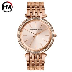 女性ラインストーンウォッチトップブランドラグジュアリーローズゴールドダイヤモンドビジネスファッションクォーツ防水腕時計RelogioFeminino1185-rose gold