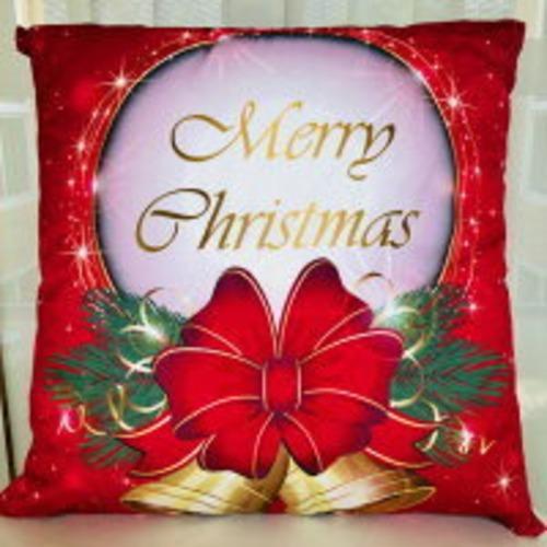 ⭐ソファに置くと一際目立つ♪ クッション 中身付き クリスマス リース プリント ポリエステル Merry Christmas 赤 レッド ゴールド グリーン ベル オシャレ 海外 インテリア 正方形 51cm ファスナー チャック 角型