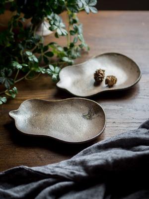 炭化焼締 瓢箪皿(小皿・取皿・和食器)/阿部 恵里