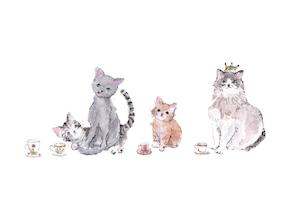 A5アートプリント《猫とティーカップ》