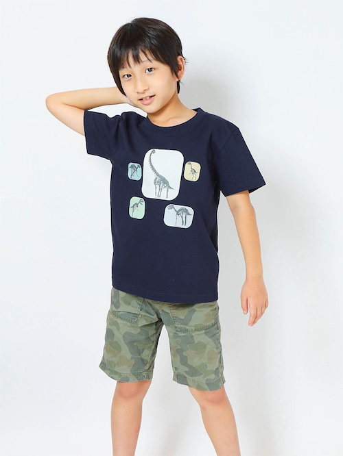 恐竜骨格3DプリントTシャツ子供用 ネイビー【KT-BO】