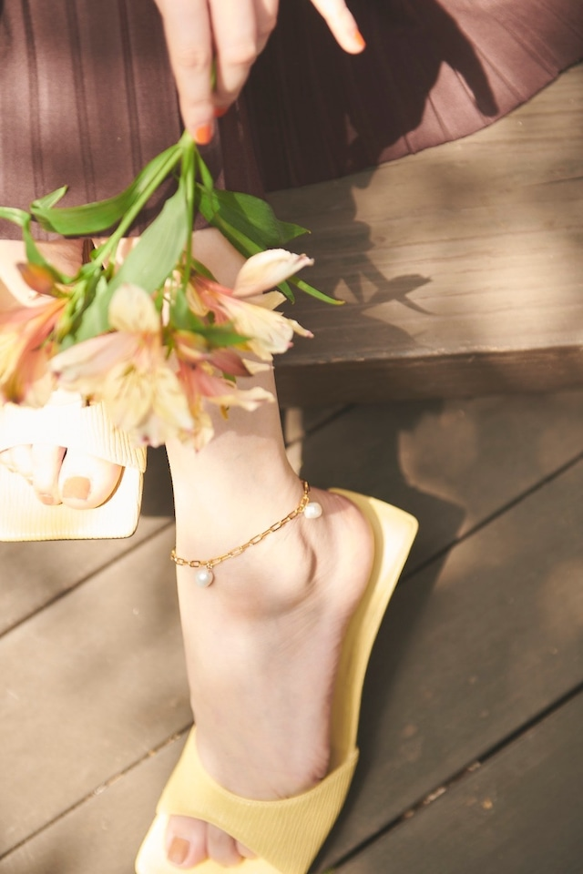 Trio Pearl Gold Anklet