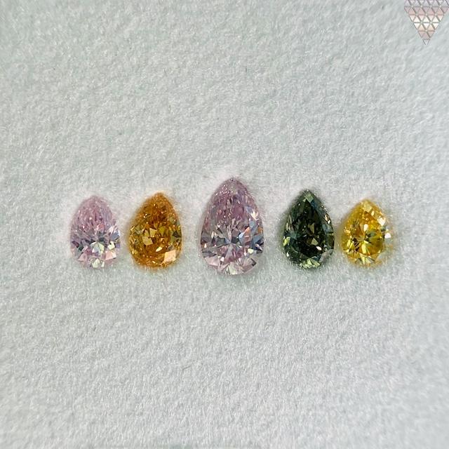 合計  0.53 ct 天然 カラー ダイヤモンド 5 ピース GIA  1 点 付 マルチスタイル / カラー FANCY DIAMOND 【DEF GIA MULTI】