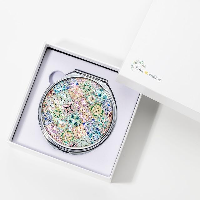 天然貝 コンパクトミラー(クッキーフェスティバル) シェル 螺鈿アート プレゼント・ギフトにおすすめ