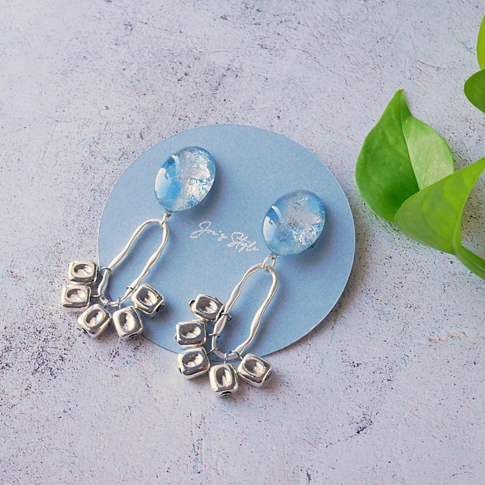 """"""" Earrings NO.0-1961″ブルーシルバーメタリック"""