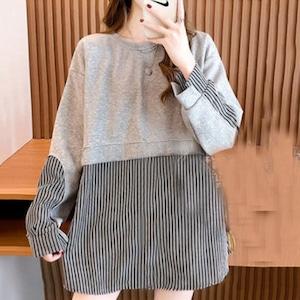 【トップス】韓国風ファッション 好感度UP プルオーバー ストライプ柄 切り替え カジュアル  パーカー52388721