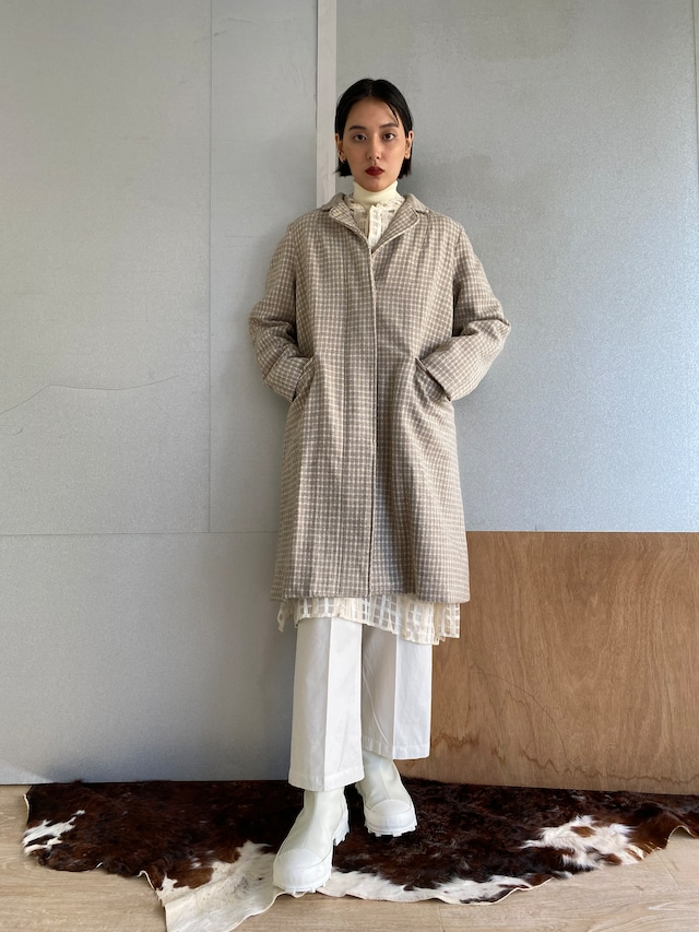 """Two style sleeve coat """"Ice gray hound's-tooth check"""" khadi wool"""