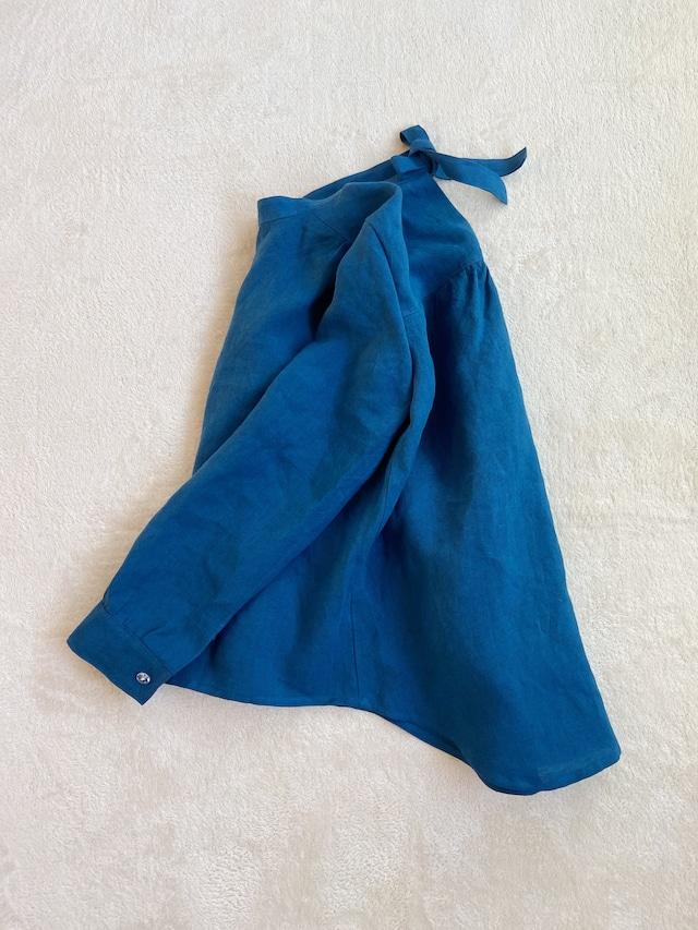 【予約製作】INK BLUE LINEN SHIRT(RIBBON)