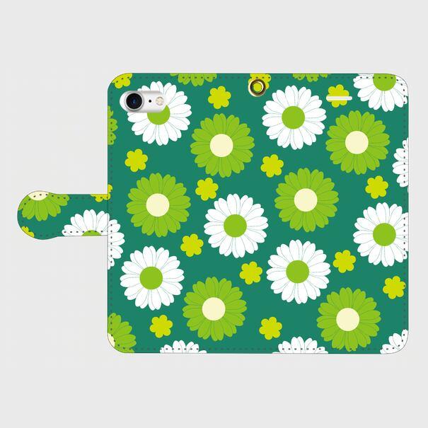 昭和デザイン花(緑・白)/ iPhoneスマホケース(手帳型ケース )