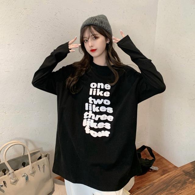 レタリングロングTシャツ YH3863