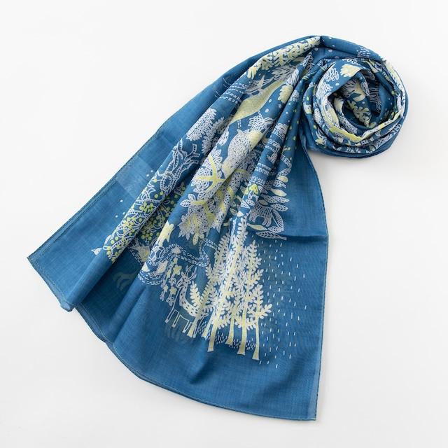 ひびのこづえ ストール SHIRETOKO / ブルー ガーゼ素材 180x53cm 綿100% KF20-01