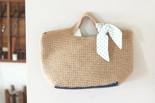手編みのバッグ*麻 リボン/sakura 型番:B-8