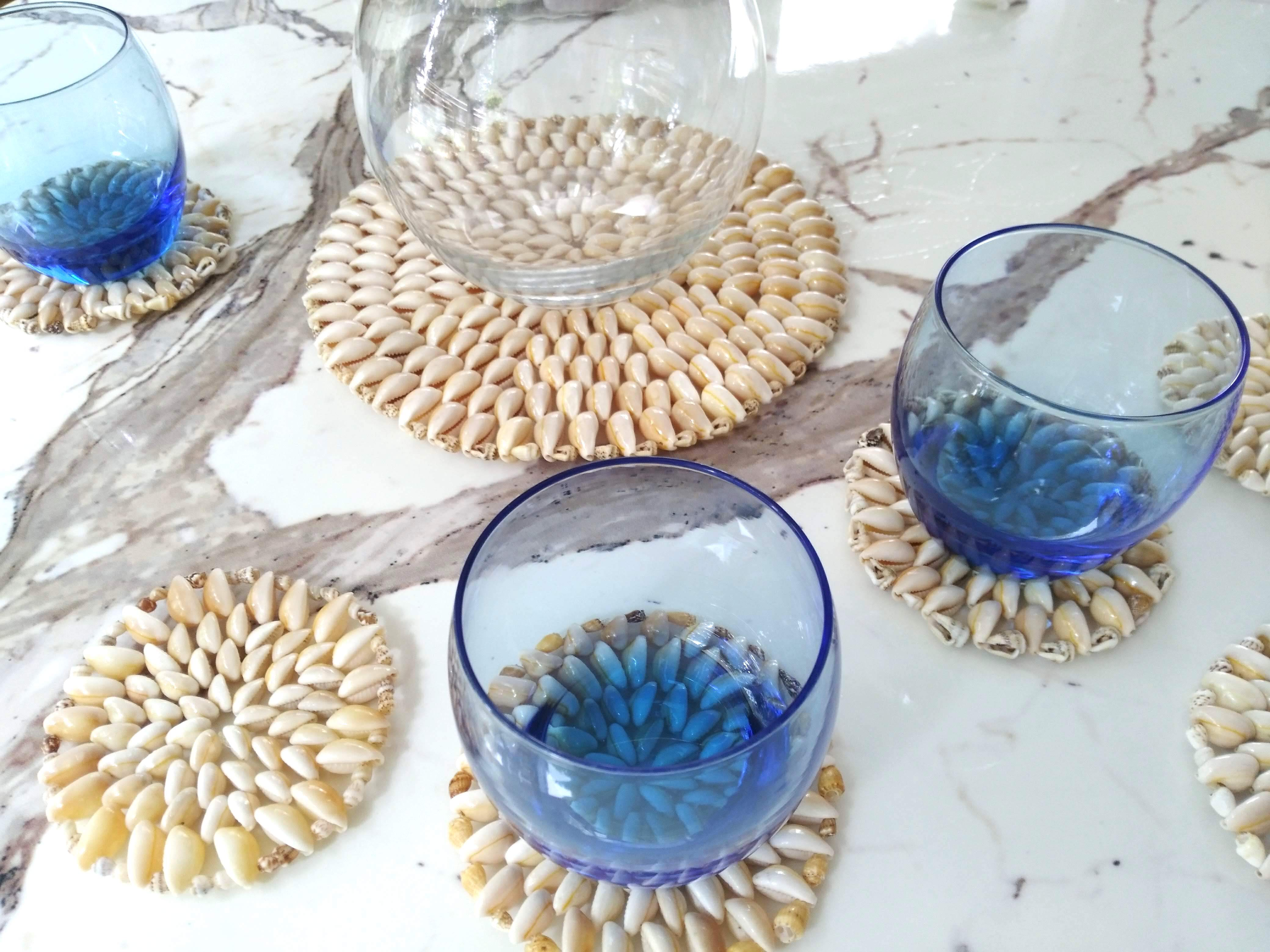 Aegeansea style Cowrie Shell Coaster6p & Potmat1p エーゲ海スタイル宝貝のテーブルセット7点セット
