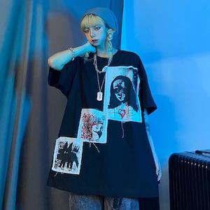 【トップス】男女兼用半袖プリント暗黒系ストリート系ファッションTシャツ44805530