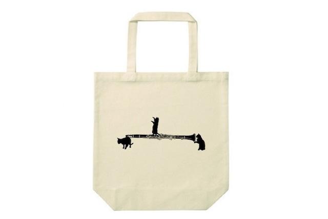 クラリネットと黒猫のトートバッグ