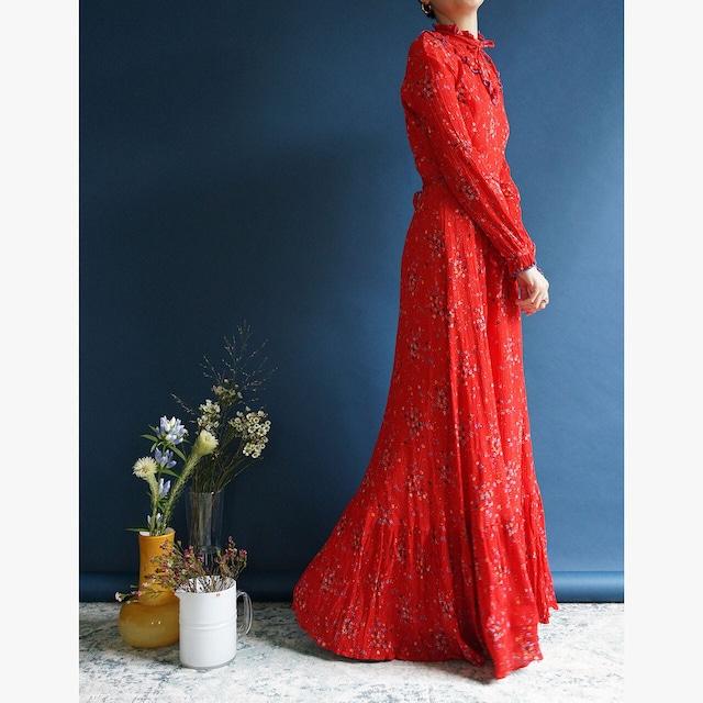 "【送料無料】70's ""Vera Mon"" Flowers & Ruffles Vintage Maxi Dress"