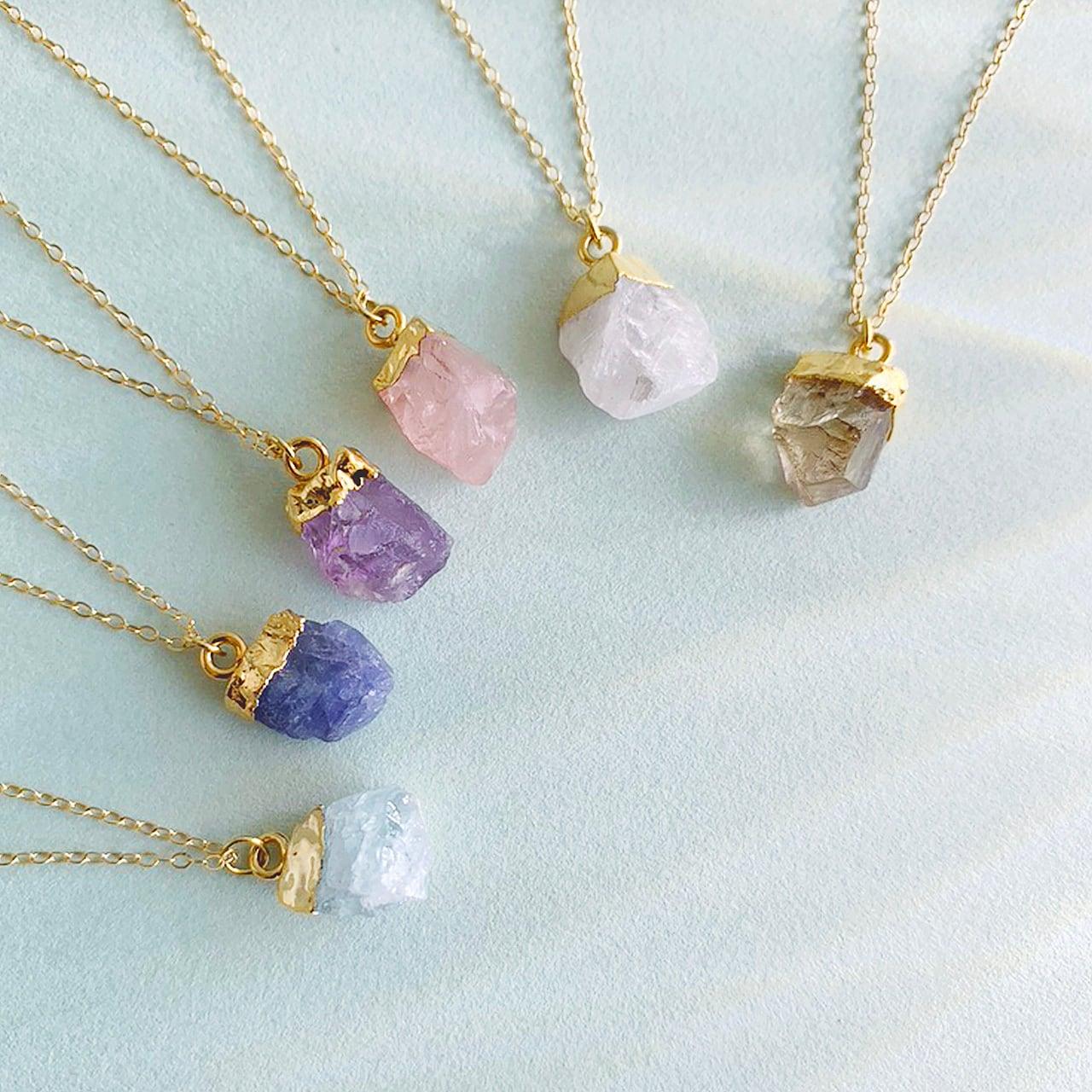 Birth stone necklace (Rose quartz) OBH-49