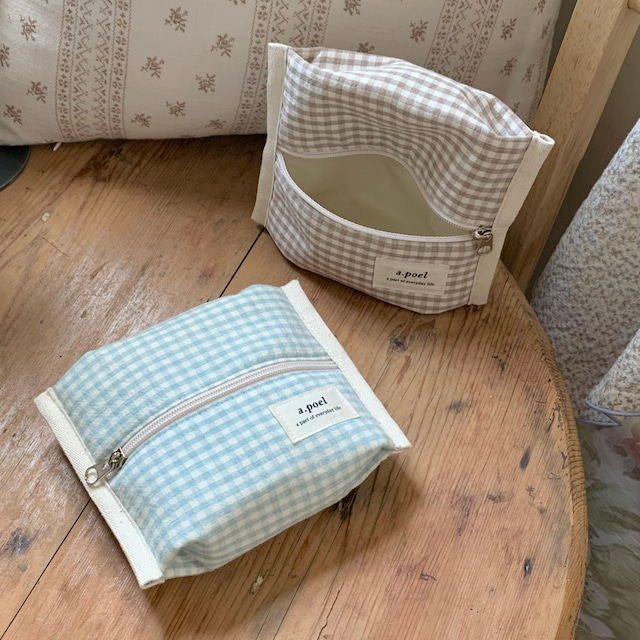 [a.poel] Gingham Check Cracker pouch (全4色)