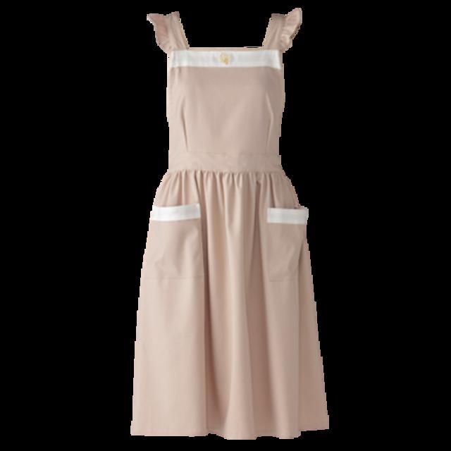 Bycolor frill apron / バイカラー フリル エプロン(ベージュ × ホワイト)