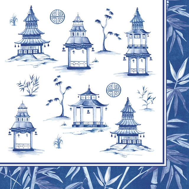 【Easy Life】バラ売り2枚 ランチサイズ ペーパーナプキン Pagoda ブルー