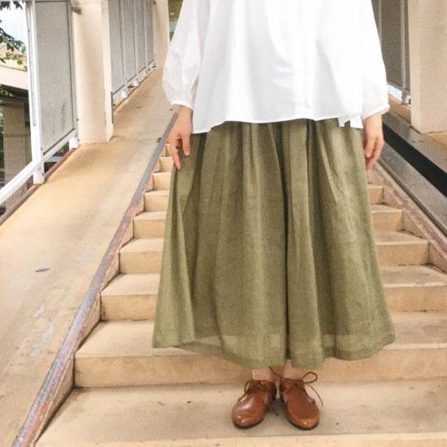 ICHI (イチ) ボリュームギャザースカート カーキ