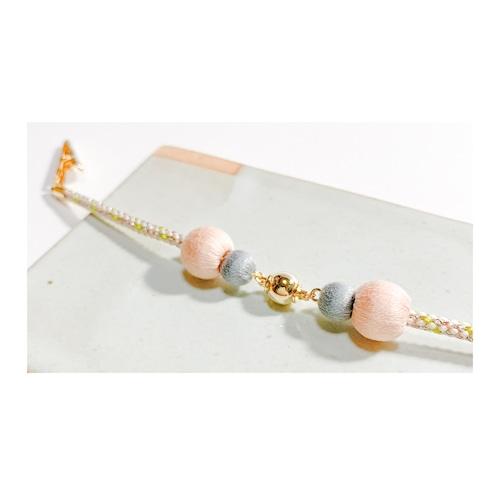 マグネットの羽織紐(ショール留め) -ピンク×青-