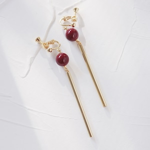 EARRINGS    【通常商品】 BALL STICK EARRINGS (GOLD+RED)    1 EARRINGS    RED    EBH141