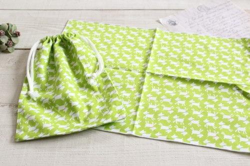 給食セット*巾着・ナフキンセット やぎ グリーン/A*K 型番:A28緑
