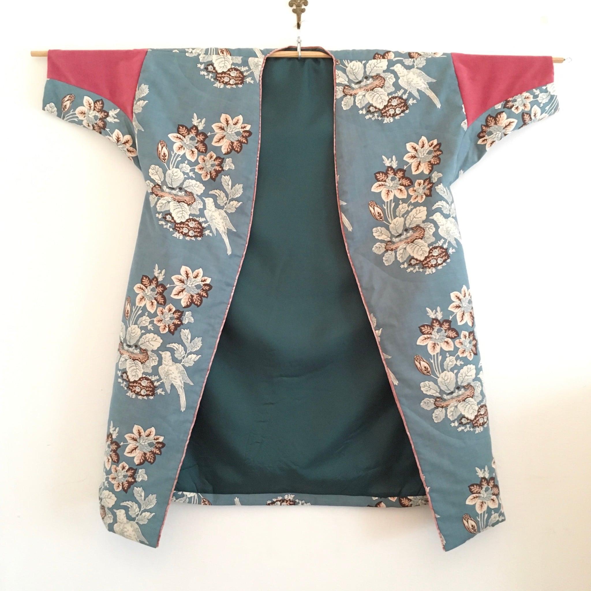 アンティーク更紗のガウンコート (花鳥)