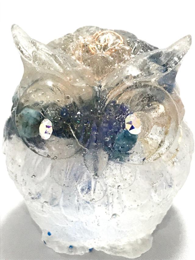 フクロウ型オルゴナイト【ラピスラズリ&天然水晶】