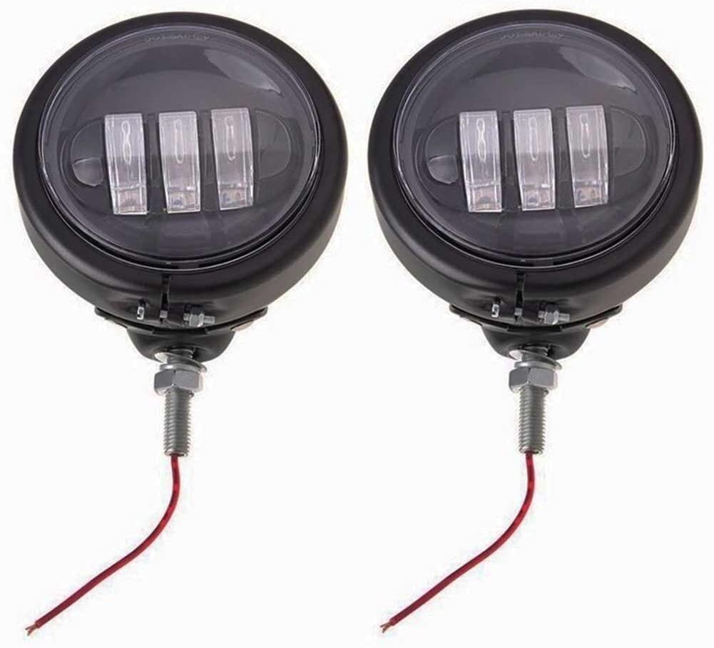 LED フォグランプ LEDフォグ 汎用 ハーレー風 補助ライト 4.5インチ DC 12V/24V 30W【ブラック】 2個セット