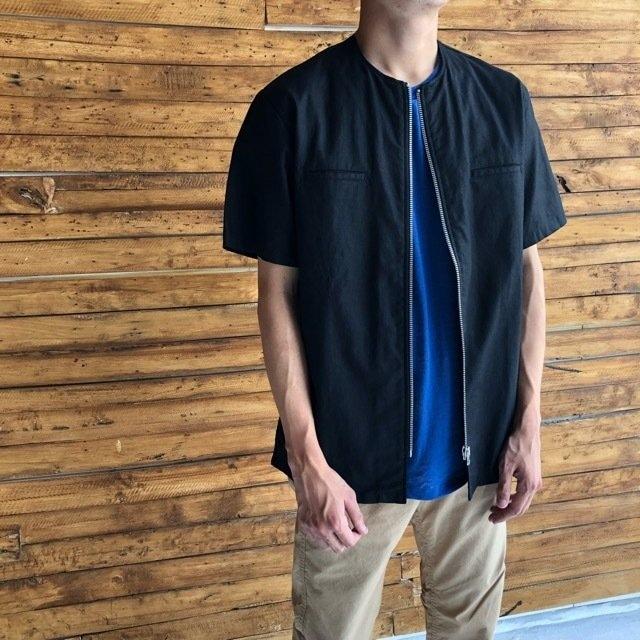 LOLO LIKE (ロロライク) ノーカラ―半袖ジップジャケット
