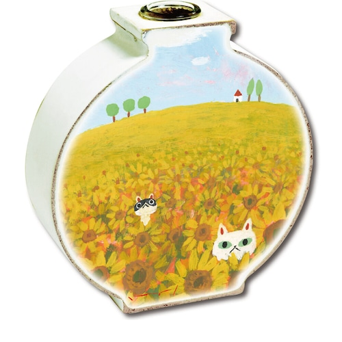 猫花瓶(糸井忠晴フラワーベース)ネコとひまわり畑