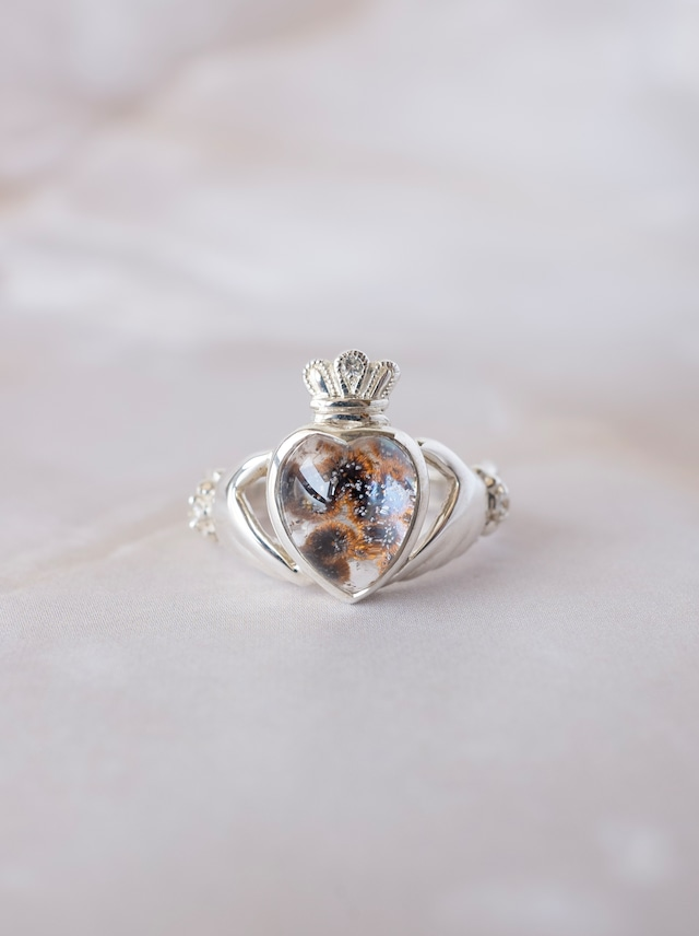 Cacoxenite in Quartz Claddagh Ring