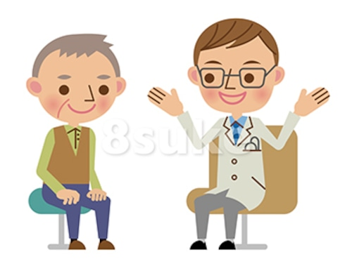 イラスト素材:問診中、患者に説明する医師(ベクター・JPG)